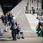 eine Schulklasse posierte am Trafalgar Square - das erinnerte mich irgendwie an Harry Potter ^^